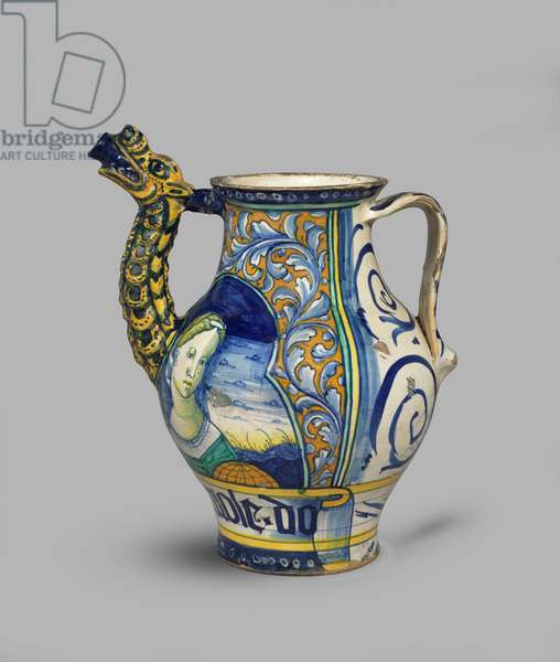 Dragon-spouted drug jar or orciolo with two female half-length figures, c.1520 (tin-glazed earthenware (maiolica))