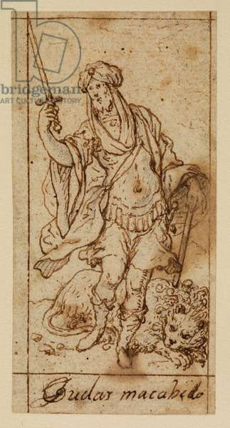 Judas Maccabeus, 17th century (black chalk, pen & brown ink on laid paper with brown ink framing lines)