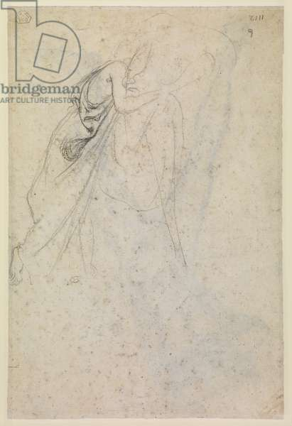 Study of a draped female figure (verso), c.1865 (black chalk on laid paper?) [see 5948379]