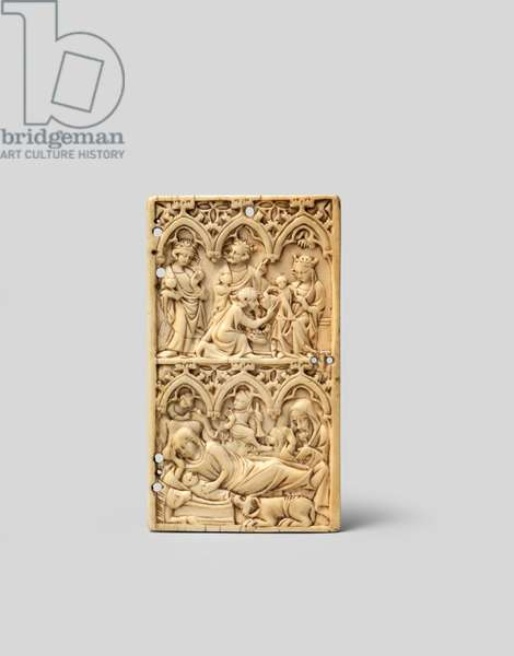 Front cover of a set of writing tablets depicting the Nativity and the Adoration of the Magi, 14th century (carved ivory)