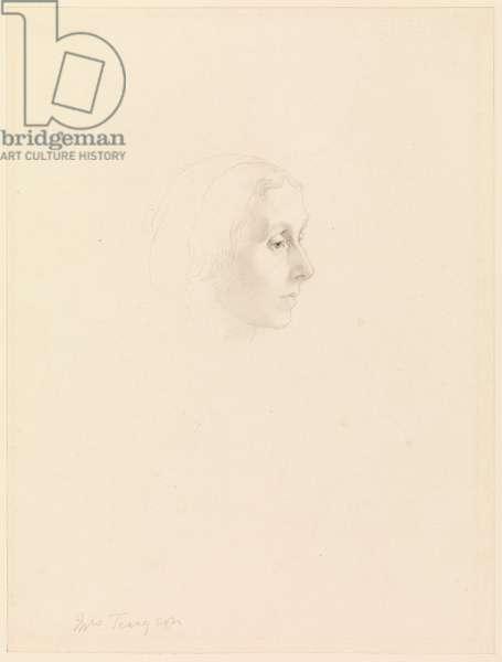 Study for Portrait of Emily Tennyson, 1862 (graphite & grey wash on cream wove paper)