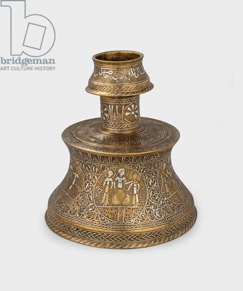 Candlestick, 1275-99 (cast, engraved bronze inlaid with silver)