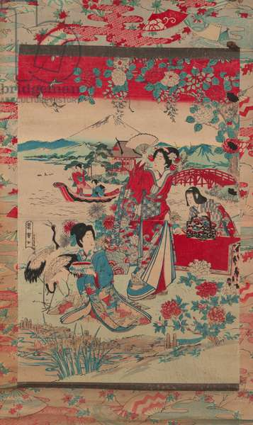 Geishas in a Landscape, c.1870-80 (colour woodblock print)