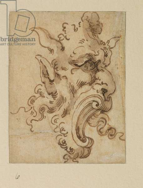 Grotesque mask, 17th century (black chalk, pen & brown ink, brown wash on laid paper)