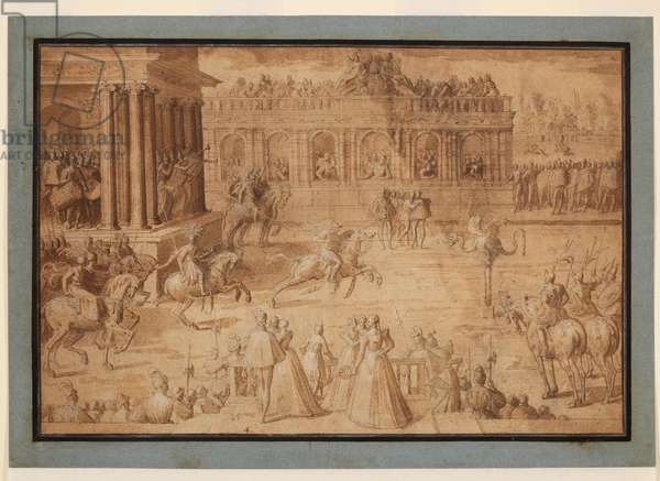 A quintain, 1575-c.1580 (black chalk, pen & brown ink, brown wash, white bodycolour on laid paper, with brown ink framing lines, laid down on a historic support)