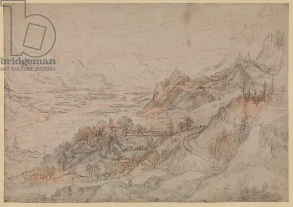 Mountain landscape, 1607 (black and red chalk on paper)