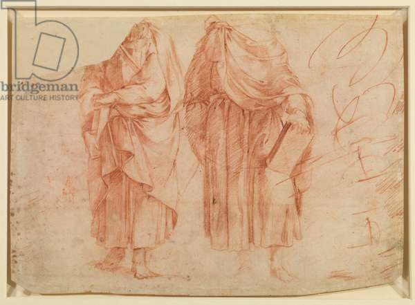 Two standing male figures (recto), 16th century (red chalk on laid paper) [see 5948417]