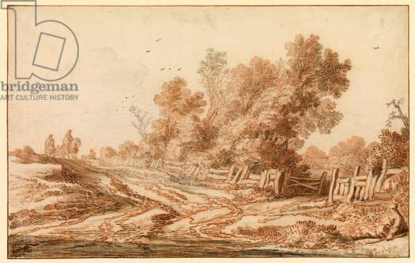 Landscape with travellers on a road, 1655 (red chalk over black chalk, with grey and brown wash & additional drawing in black chalk on laid paper)