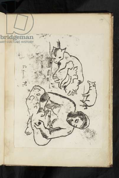 Avant et après - Seated woman, cat with kittens and a pig, 1903 (traced monotype printed in black ink on wove paper, laid down on album page; oriented horizontally with lower edge toward the gutter; limited view of verso, presumably no verso drawing)