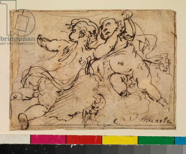 Two putti on clouds, 1675-79 (pen and brown ink on laid paper, with brown ink framing lines)