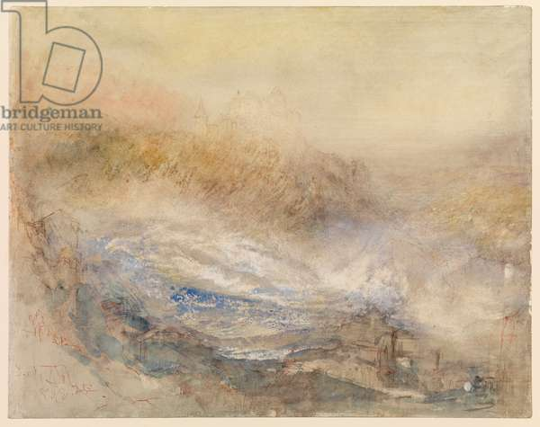 The Falls of the Rhine at Schaffhausen (recto), 1841 (pencil, w/c, bodycolour, pen & ink (red) with scratching out (recto), pencil (verso), on grey-prepared wove paper)
