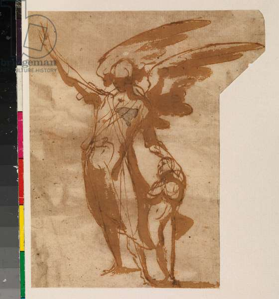 Guardian Angels Walking with a Child (recto), 17th centuy (pen & brown ink, and brown wash on laid paper, trimmed unevenly so is longer at top edge to accommodate angel wings) [see 5948348]
