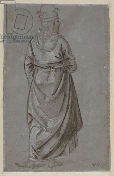A man seen from behind (verso), c.1481-85 circa (metalpoint (silverpoint?), pen and brush & brown ink with white bodycolour, on grey prepared laid paper)