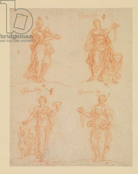 Four Virtues - Goodwill, Generosity, Liberality and Humanity, 17th century (red chalk on laid paper)