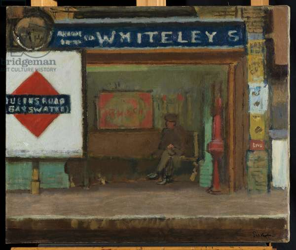 Queens Road Station, Bayswater, c.1916 (oil on canvas)