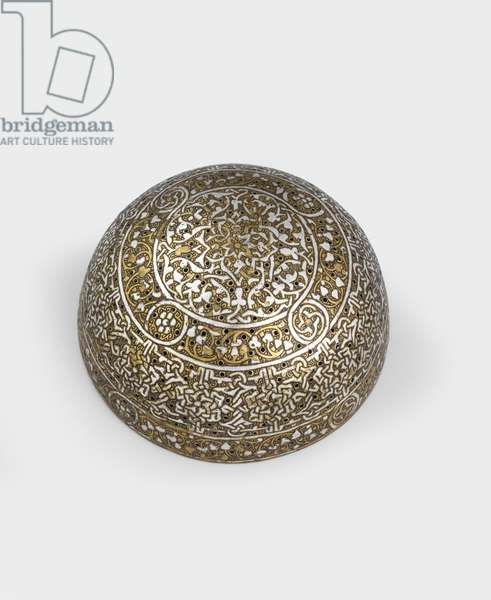 Half incense burner, 1475-1525 (metalworked engraved brass with silver inlay and later piercing)