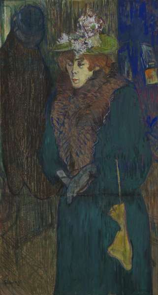 Jane Avril in the Entrance to the Moulin Rouge, putting on her Gloves, c.1892 (oil and pastel on millboard, laid on panel)