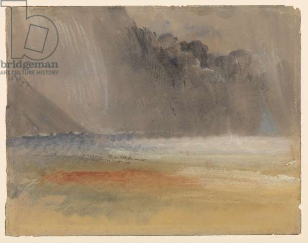 Heaped thundercloud over sea and land, c.1835-40 (w/c and bodycolour on purple-brown wove paper)