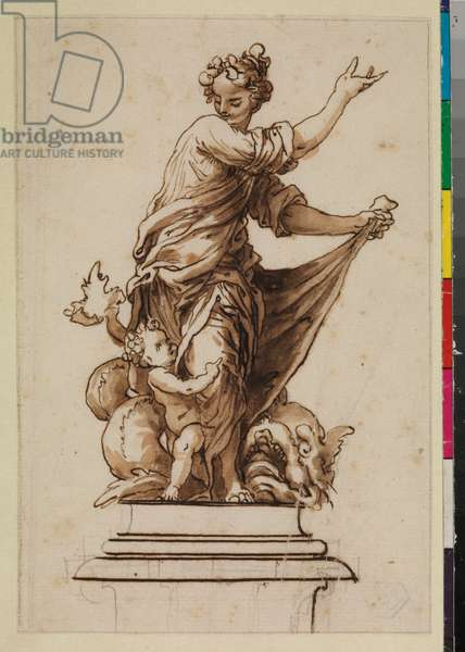 Allegorical group on a pedestal with a female figure, infant and dragon, 17th century (black chalk, pen & brown ink, and brown wash on laid paper, with graphite framing lines)