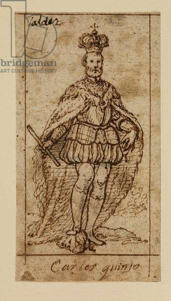 Charles V, 17th century (black chalk, pen & brown ink on laid paper with brown ink framing lines)
