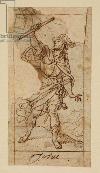 Joshua, 17th century (black chalk, pen & brown ink on laid paper with brown ink framing lines)