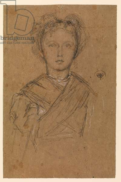 Elinor Leyland, c.1873 (black & white chalk, moistened in areas, on thick brown wove paper)