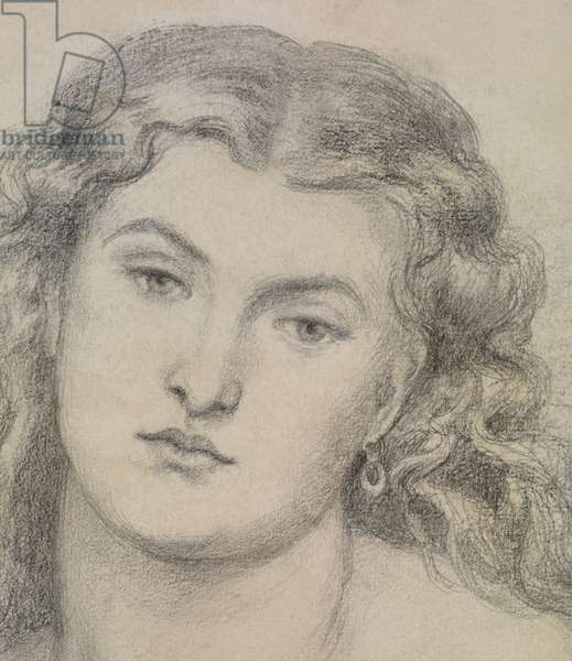 Detail from study for 'Venus Verticordia', c.1863-64 (pencil on paper) [see  5934419]
