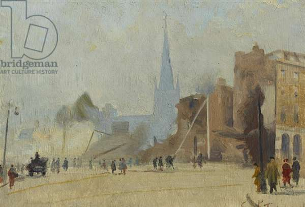 Broadgate Coventry after Raid, November 1940, 1940-44 (oil on board)