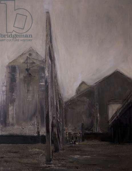 Thames Wharf, 1959 (oil on canvas)