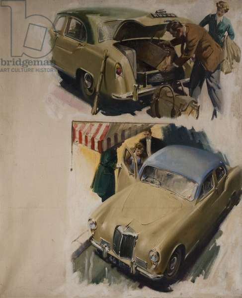 Illustration for Armstrong Siddeley 'Sapphire' Cars - 2 studies, 1953-58 (oil on canvas)