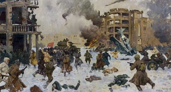 The Defence of Stalingrad, 1964 (oil on canvas)