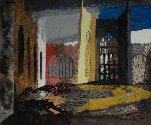 Interior of Coventry Cathedral, the morning after the Blitz, 1940 (oil on canvas laid on board)