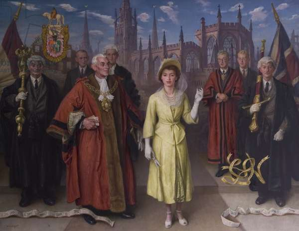 HRH Princess Elizabeth Opening The New Broadgate, in Coventry on 22nd May 1948, 1948 (oil on canvas)