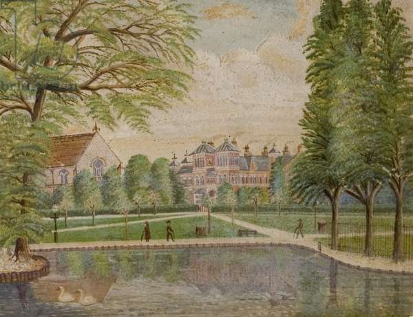 Swanswell Pool, Coventry with the Coventry and Warwickshire Hospital behind, c.1900 (oil on board)