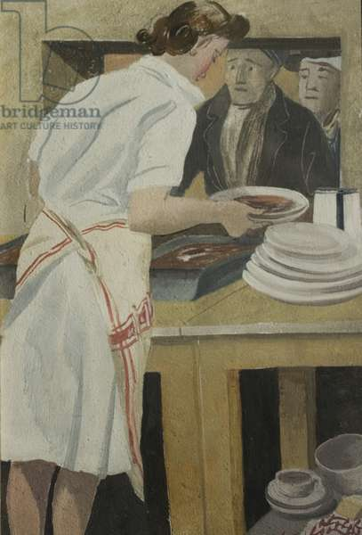 Grace at the Sausage Hatch, British Restaurant, Coventry, c.1940 (oil on panel)