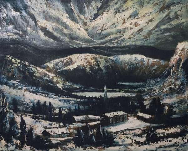 Glendalough in Winter, 1965 (oil on board)