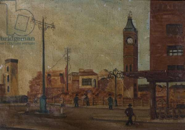 Street Scene with Ruined Market Tower, Coventry, 1941 (oil on canvas, laid on board)