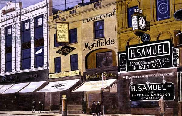 The North-West End of Broadgate, Coventry in 1939 (poster paint)