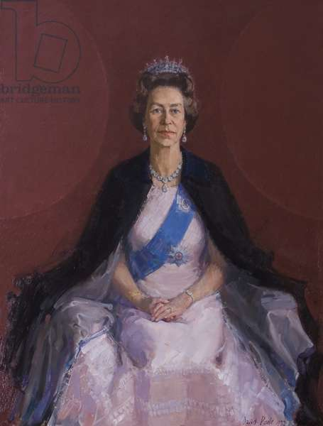 HM Queen Elizabeth II, late 1970s (oil on canvas)