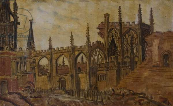 Bayley Lane and the Ruined East-End of St. Michael's, Coventry, 1942 (oil on canvas, laid on board)