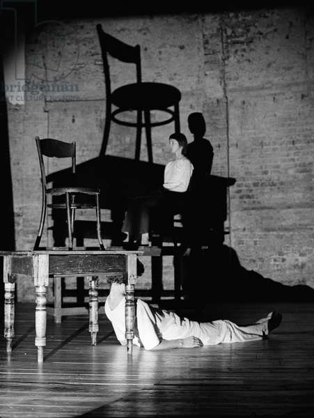Miranda Tufnell and Dennis Greenwood in 'Other Rooms', Almeida Theatre, London, 16th November 1981 (b/w photo)