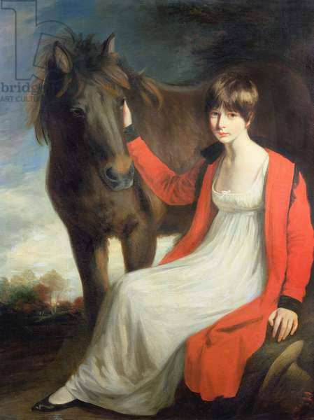 Portrait of Miss Emily Beauchamp with her Pony (oil on canvas)