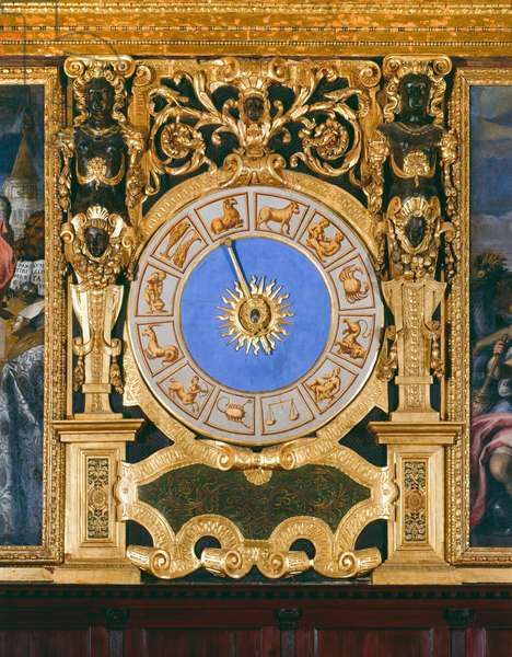 Clock face with the constellations (gilded wood)