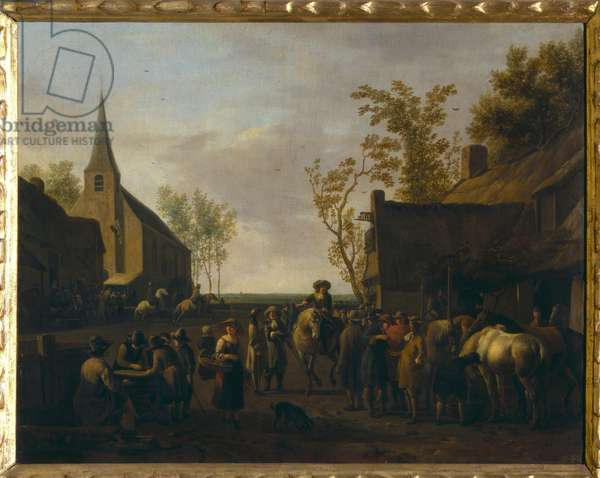 Village with horse traders (oil on canvas)