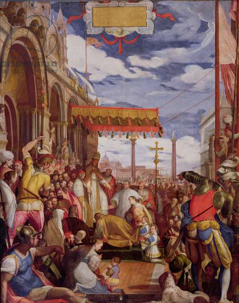 Frederick Barbarossa (c.1123-90) Pays Public Homage to Pope Alexander III (1105-81) in March 1177 (oil on canvas)