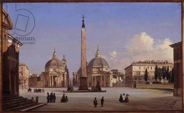 View of Piazza del Popolo in Rome, 1842 (oil on canvas board)