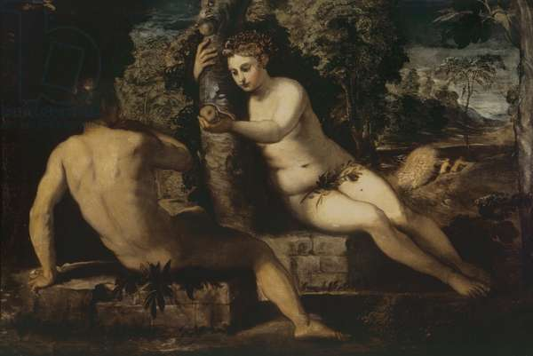 The Temptation of Adam and Eve (oil on canvas)