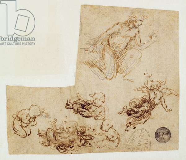Figural Studies for the Adoration of the Magi (Sketches for a Christ Child and Studies of a kneeling and a flying angel), c.1481 (pen & ink over metalpoint on paper)