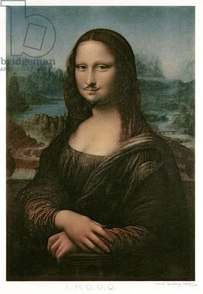 L.H.O.O.Q, Mona Lisa with moustache, 1930 (colour litho)