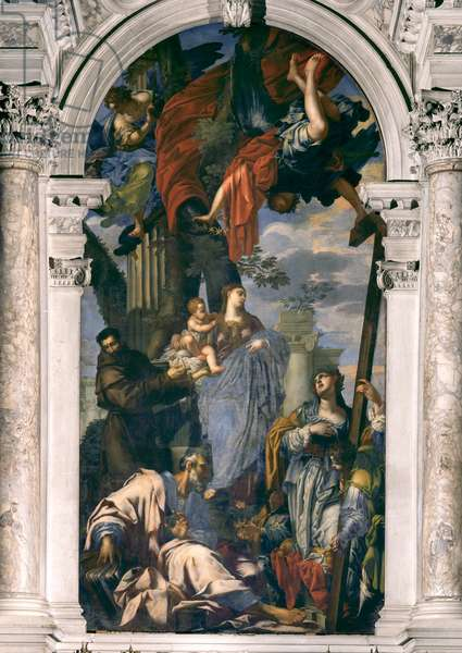 Madonna and Child with Saints Francis, Thomas the Apostle and Helen, 1640 (oil on panel)